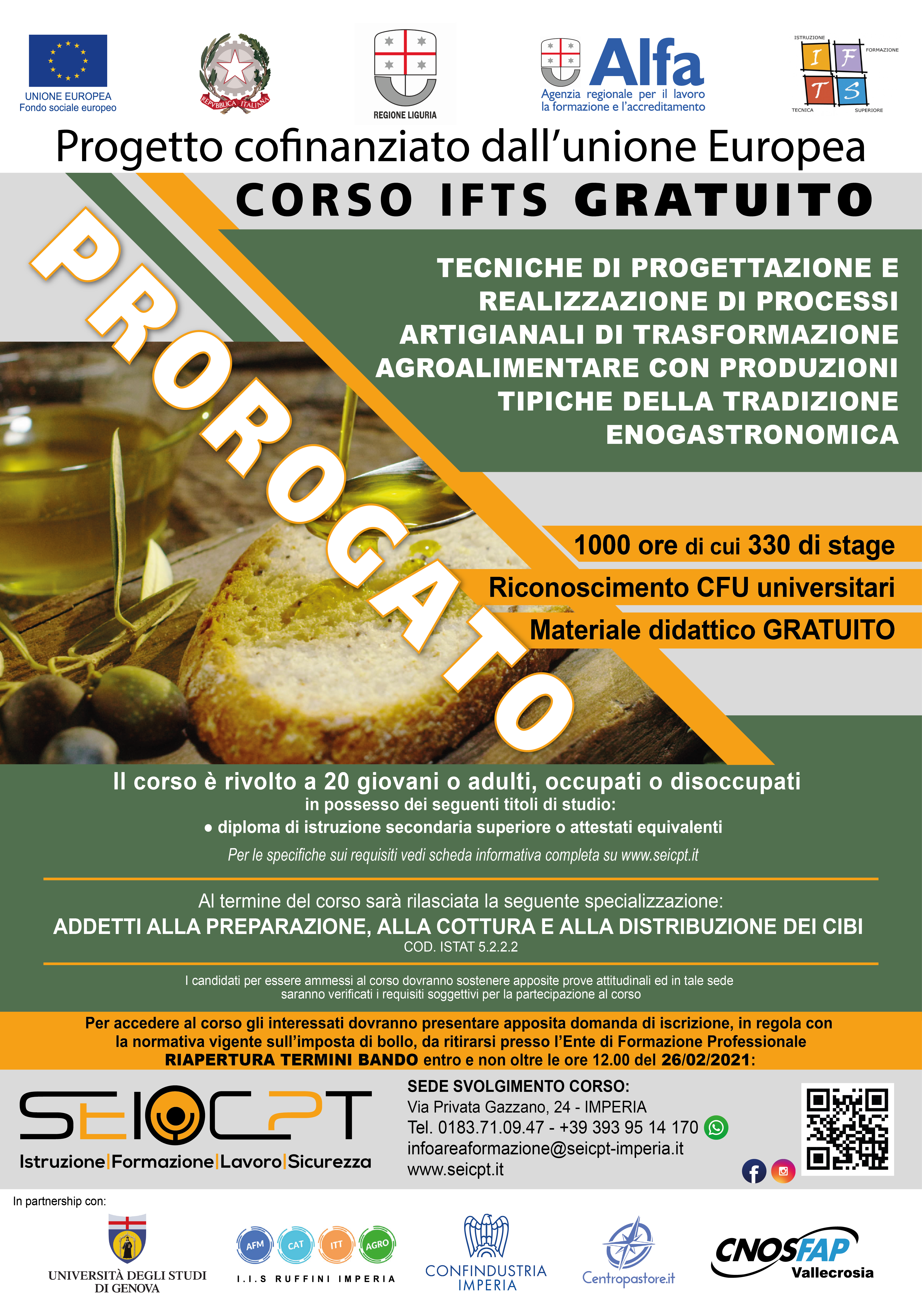 BANDO prorogato: Tecniche di progettazione e realizzazione agroalimentare (dal 01/12/2020 al 26/02/2021)
